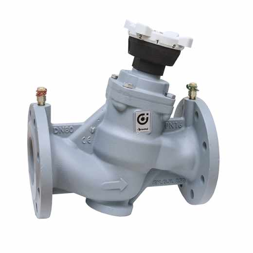 130 - Balancing valve for hydraulic systems. Cast iron body. Plastic PPP obturator.