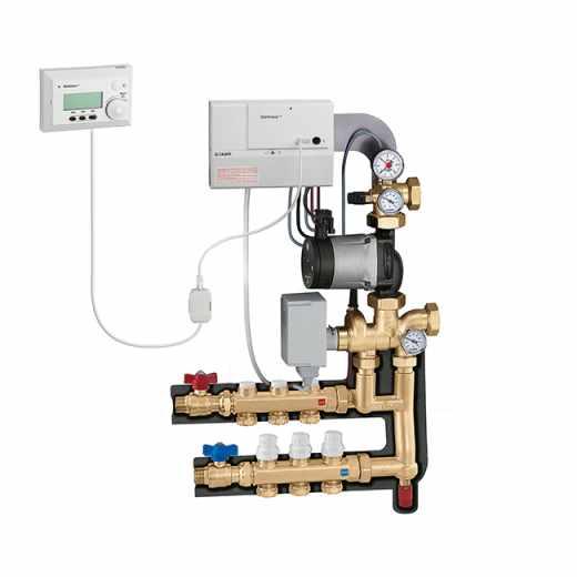 174 - Weersafhankelijke thermische regelgroep met regelaar en ruimtesensor. Verdeelkit en bypasskit primair circuit.