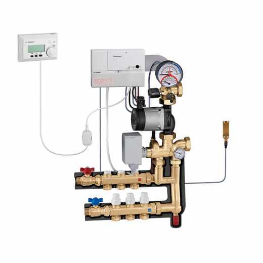 174 - Regelgroep met weersafhankelijke regelaar en ruimtesensor verwarmen en koelen. Verdeelkit voor primair circuit.