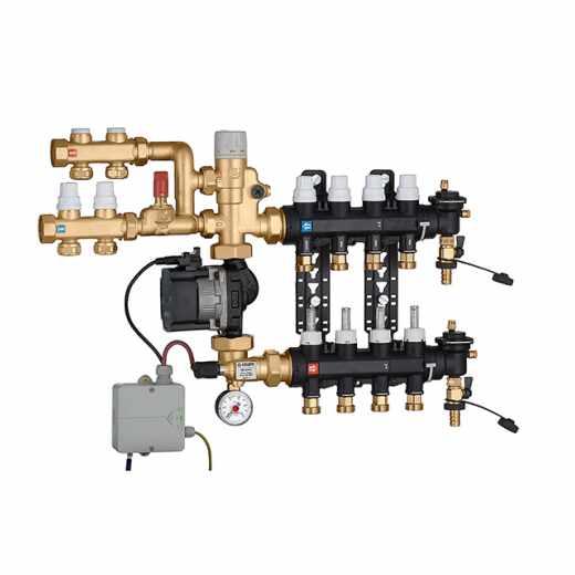 182 - Grupo de regulação de ponto fixo pré-montado com kit de distribuição de fluido para circuito primário