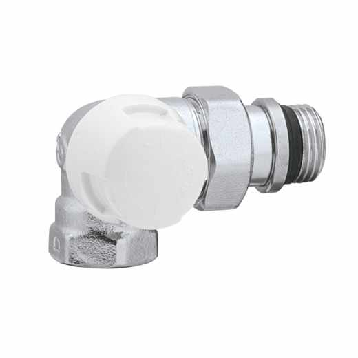 225 - Double angle lockshield valve. Left-hand version. Chromed plated. For iron pipe