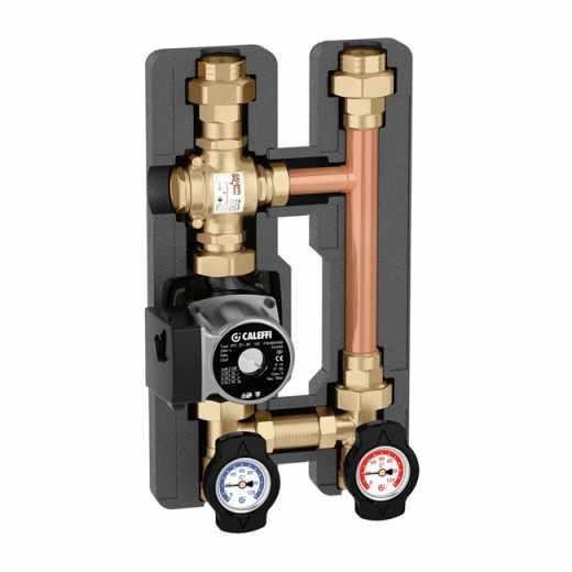 282 - Oběhová jednotka s termoregulačním ventilem, ovládáním teploty média na vratu do kotle na pevná paliva
