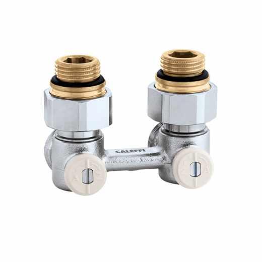 """3011 - Válvula especial para radiadores planos com grupo válvula termostática incorporado.Versão bitubo em esquadria-1/2"""" F"""