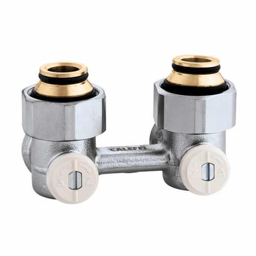 """3011 - Válvula especial para radiadores planos com grupo válvula termostática incorporado.Versão bitubo em esquadria-3/4"""" M"""