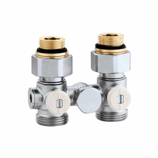 """3012 - Válula especial para radiadores planos com grupo válvula termostática incorporado.Versão monotubo direita-1/2""""F"""