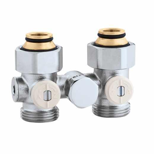 """3012 - Válvula especial para radiadores planos com grupo válvula termostática incorporado.Versão monotubo direita-3/4""""M"""