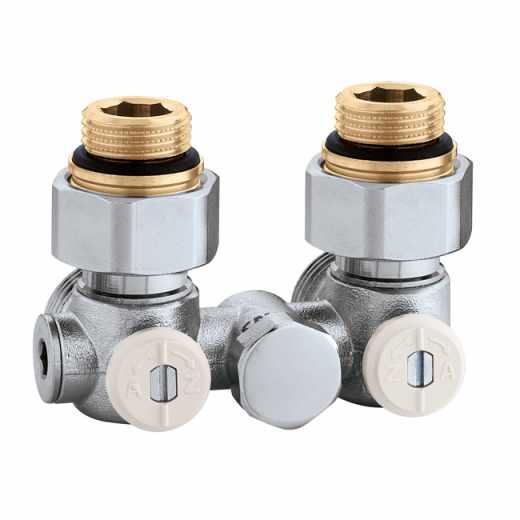 """3013 - Válvula especial para radiadores planos com grupo válvula termostática incorporado.Versão monotubo em esquadria-1/2"""" F"""