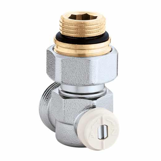 """3015 - Válvula especial para radiadores planos com grupo válvula termostática incorporado.Emesquadria-1/2""""F"""