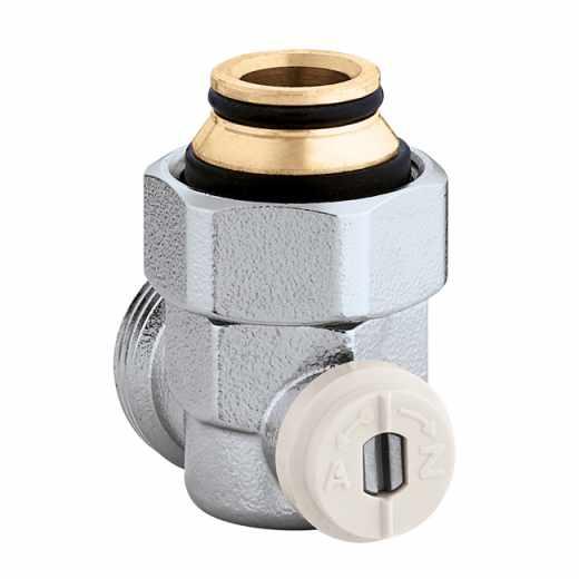 """3015 - Válvula especial para radiadores planos com grupo válvula termostática incorporado.Em esquadria-3/4""""M"""