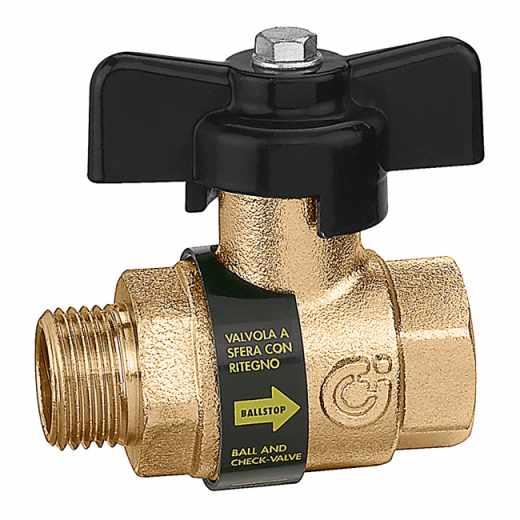 332 BALLSTOP - Kroglični ventil z vgrajeno nepovratno loputo, priključki M-Ž