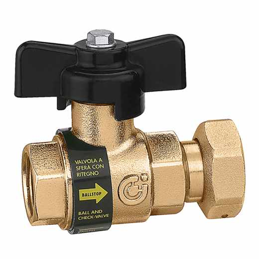 333 - BALLSTOP - Kroglični ventil z vgrajeno nepovratno loputo, priključki Ž-Ž matica