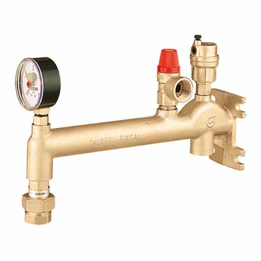 336 - Assembled wall mounting manifold for heating systems. Equipped with air vent, safety relief valve and pressure gauge.