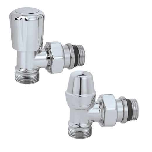 3380 - Pair of angled convertible radiator valve and lockshield valve. High chrome finish