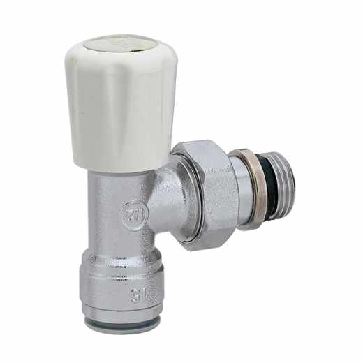 338 - Angled convertible radiator valve. Push fit connection for copper pipes