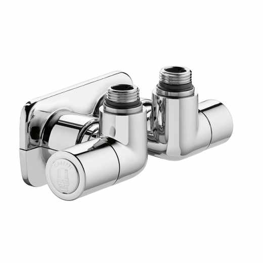 4004 - HIGH-STYLE double angled convertible radiator and lockshield valve with central connection. Right-hand version. High chrome finish.