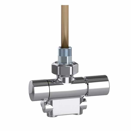 4005 - Convertible radiator valve fitted for thermostatic control heads and thermo-electric actuator. High chrome finish. Factory set for one-pipe systems, adjustable for two-pipe systems. Right-hand version