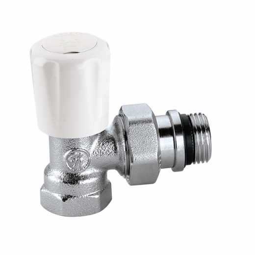 421 - Angled convertible radiator valve with pre-setting, for steel pipe
