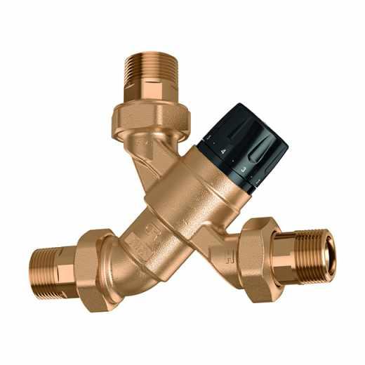 5200 - Nastavljiv termostatski mešalni ventil z vrtljivim gumbom, opremljen z nepovratnimi ventili in filtri na dovodu