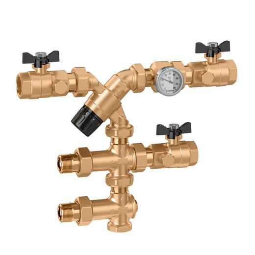 5201 - Grupo de controlo da temperatura da água quente sanitária no ponto de distribuição, com ligação ao recírculo.