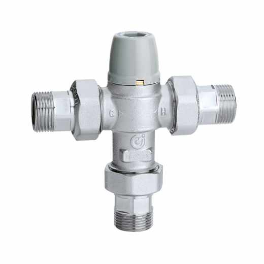 5213 - Adjustable anti-scald thermostatic mixing valve, with check valves and strainers