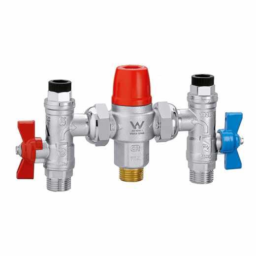 5213 - Termostatski mešni ventil sa zaustavnim ventilima, nepovratnim ventilima i filterima na ulazu. Podesiv.