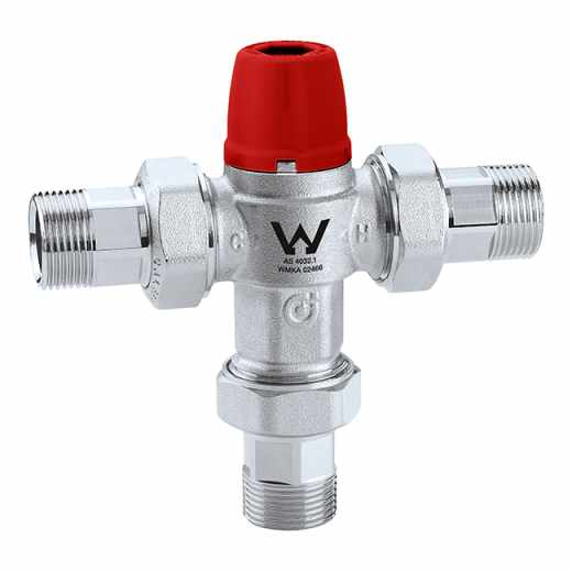 5213 - Adjustable thermostatic mixing valve with check valves, strainers and anti-scald safety function
