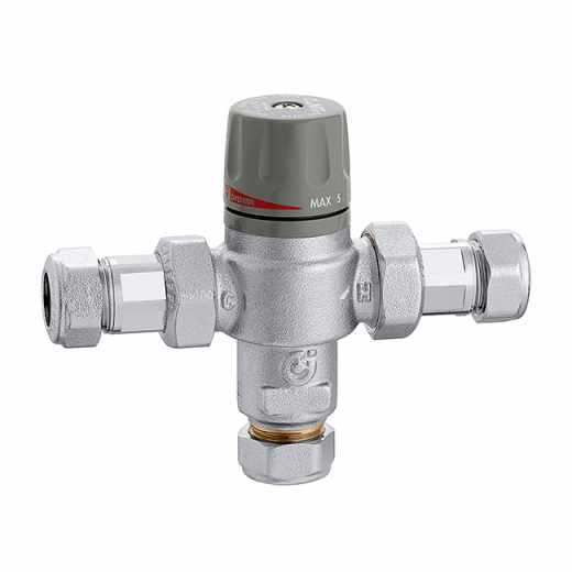 5214 - Thermostatic mixing valve with scald protection and override function