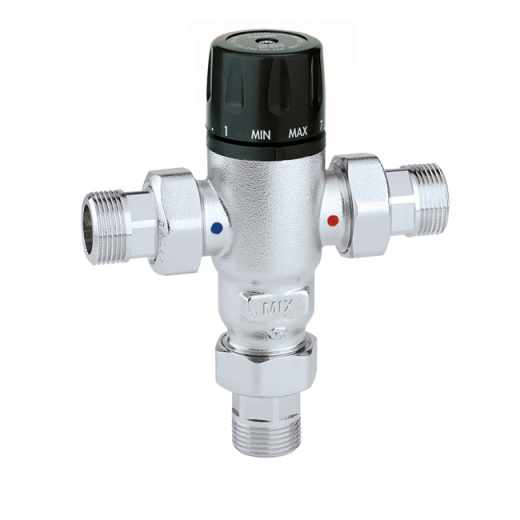 521 - Adjustable, anti-scale thermostatic mixing valve with check valves