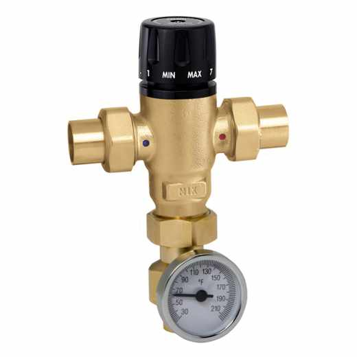521 - MixCal™ Adjustable Thermostatic and Pressure Balanced Mixing Valve (sweat, with temperature gauge)