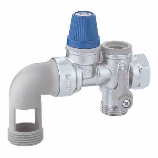 5261 - Hydraulic safety group for hot water storage heaters, with shut-off valve and controllable check valve for horizontal installation