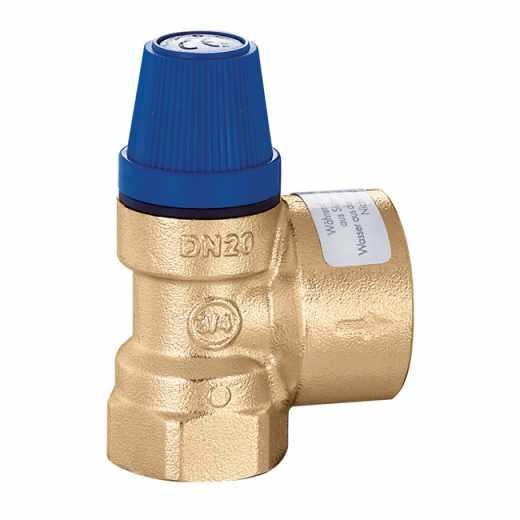 """531 - Válvula de segurança para instalações hidrossanitárias. Ligações fêmea-fêmea - 1/2"""" e 3/4""""."""