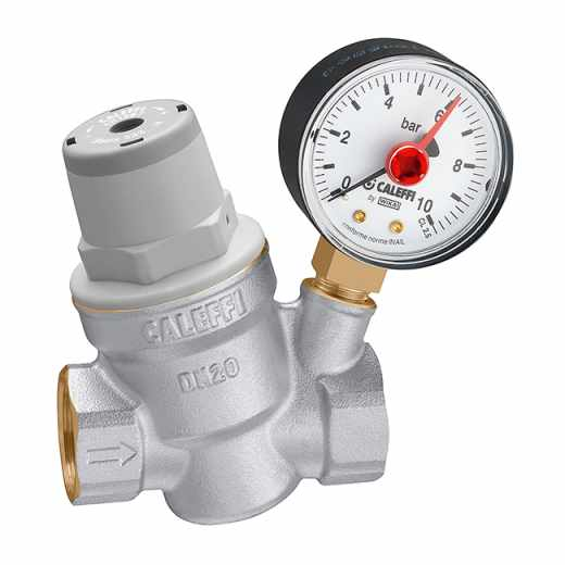 5332..H - Inclined pressure reducing valve.  For high temperature. Brass body. With pressure gauge.