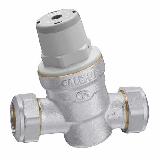 5336..H - Inclined pressure reducing valve with compression ends. For high temperature. Dezincification resistant alloy body.