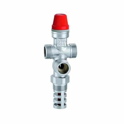 544 - Thermische veiligheidsaftap met ingebouwde vulling voor ketels met vaste brandstof, met bediening voor manuele ontluchting