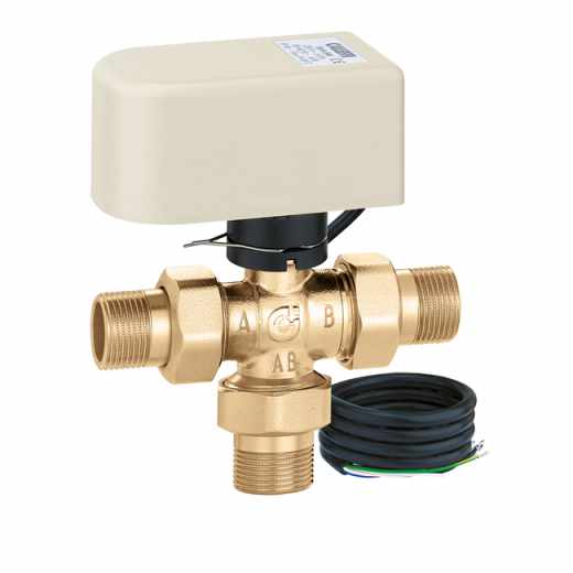6443 - Motorised three-way diverter valve. Equipped with actuator with 3-contact control