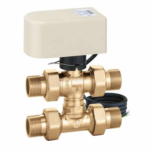 6444 - Tropotni elektromotorni kroglični conski ventil s T by-passom