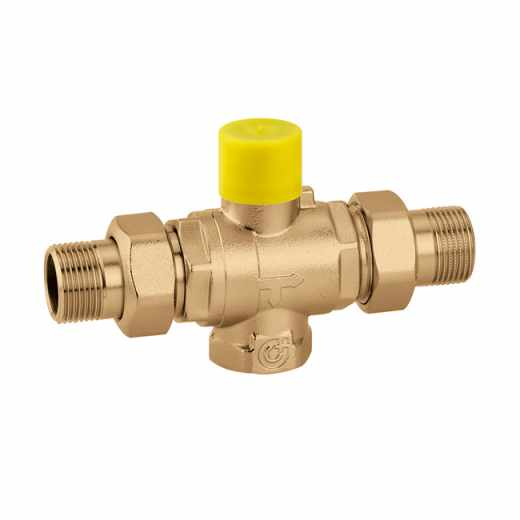 """6480 - Three-way ball zone valve. 3/4"""" F by-pass connection"""