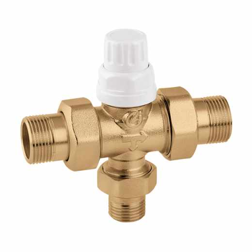 677 - Three-way zone valve for thermo-electric actuators 6563, 6561, 6562 and 6564 series